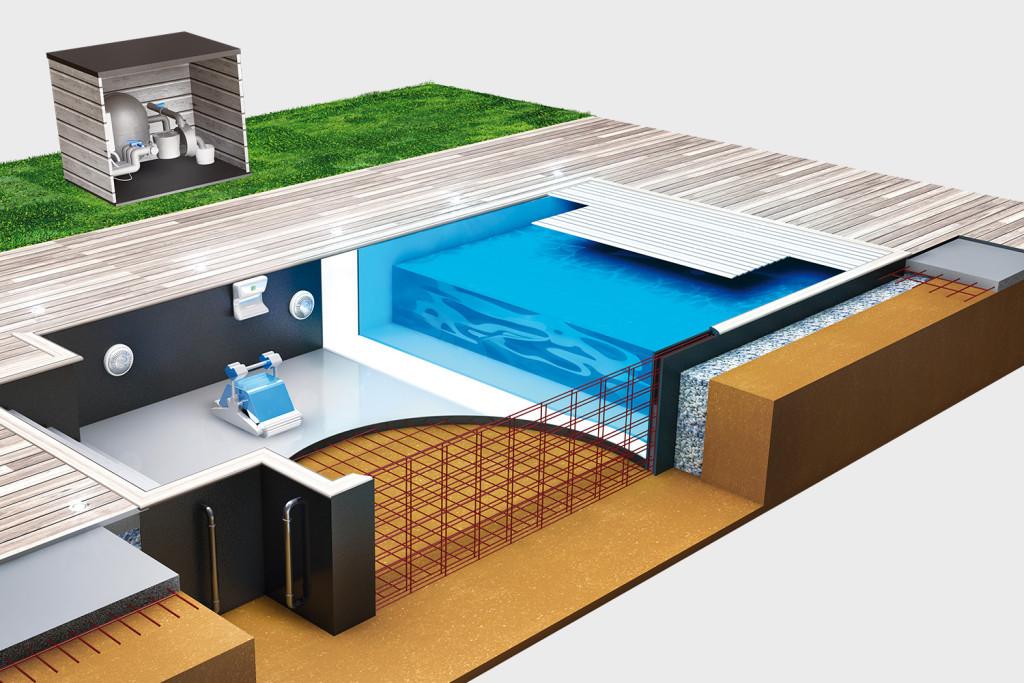 Construction de piscines rouen jardin passions for Surface local technique piscine